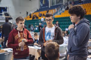 Chatting before the games