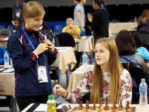 Norwegian chess players talking before the game
